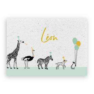 Geboortekaartje met dieren en ballonnen