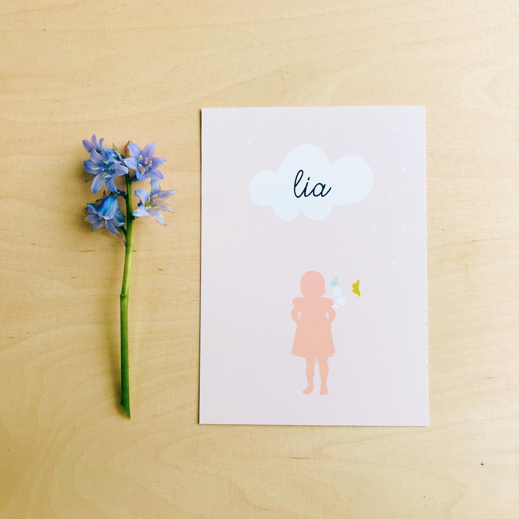 Geboortekaartje roze bloemen
